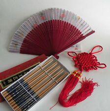 CHINESE Set of CHOPSTICKS, FAN, FENG SHUI LUCK KNOT, Asian Oriental Chop Stick