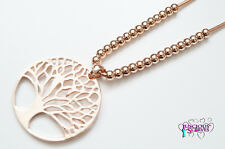 LARGE ABSTRACT TREE OF LIFE NICKLE FREE ROSE GOLD METAL NECKLACE 90 CM