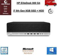 HP EliteDesk 800 G4 SFF i7 8th Gen 256GB SSD 1TB HDD DVD RW HD 630 Windows 10