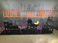 "Happy Halloween 4 Tealight Holder Haunted Houses Glittery 16"" Wide Black Orange"