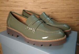 Vionic Cheryl Platform Supportive Casual Loafer Olive Patent Women's 6 US New