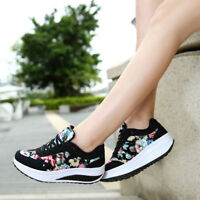 Womens Athletic Sports Shoes Breathable Sneakers Trainers Fitness Lace Up Size #