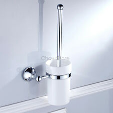 Chrome Toilet Brush with Holder Set Bathroom Cleaning Wall Mounted Brushes Sets