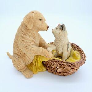 Labrador and Cat in Dog Basket Figurine Ornament.