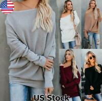Plus Size Womens Off Shoulder Sweater Ladies Long Sleeve Jumper Pullover Tops US