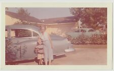 Vintage 50s 60s PHOTO Grandma Woman w/ Little Boy & Cars By House