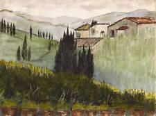Antico Italiano Acquerello di Hillside PITTURA c1920
