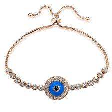 Rose Gold Tone over 925 Silver Blue CZ Enamel Round Evil Eye Adjustable Bracelet