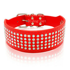 """5 Row Rhinestone PU Leather Dog Collars Diamante Bling for Large Dogs 2.0"""" wide"""