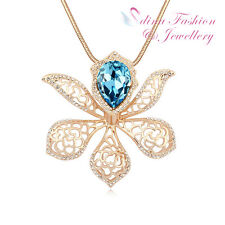 18K Gold Plated Made With Swarovski Crystal Gorgeous Lily Flower Long Necklace