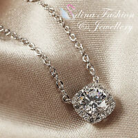 18K White Gold GP Made With Swarovski Element Round Cut Exquisite Halo Necklace