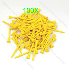 Hot Sell 100pcs 70mm Golf Ball Wood Tee Outdoor sports wooden Tees Brand Yellow