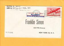 United Air Lines Tied Etiqutte Laramie Wyoming 1949 Air Mail to New York z65