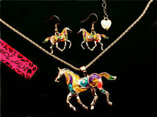 Betsey Johnson Retro Horse Set Earrings Necklace Pierced Studs