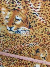 """LEOPARD PRINT POLAR FLEECE FABRIC Leopard Faces & Pattern 60"""" WIDTH SOLD BTY 716"""