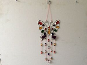 Wire Butterfly With Beads Sun Catcher (21)
