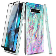 For LG Stylo 6 Ultra Slim Marble Phone Case Cover + Tempered Glass Protector