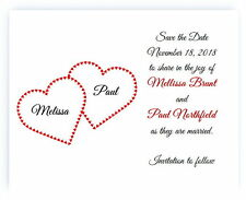 100 Personalized Custom Red Hearts Heart Bridal Wedding Save The Date Cards