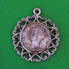 VINTAGE ANTIQUE MERCURY DIME 900 SILVER COIN PENDANT CHARM NECKLACE 1940s Heart