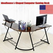 Idealhouse L Shaped Computer Gaming Desk Writing Pc Workstation With Monitor Stand