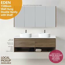EDEN | 1500mm White Oak Timber Wood Grain Wall Hung/Floating Vanity w Stone top