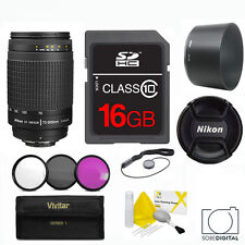 NIKON 70-300mm +16GB +CLEANING KIT KIT+ HB26 HOOD FOR NIKON  D3400 D5600 D90