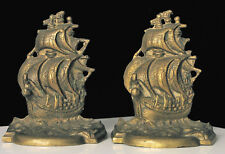 VINTAGE HEAVY BRASS TALLSHIP NAUTICAL SHIP BOOKENDS SIGNED ENGLISH CASTLE ? !