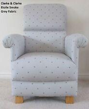 Clarke Etoile Stars Fabric Adult Chair Smoke Grey Nursery Armchair Bedroom Star