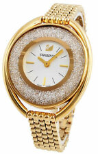Swarovski Crystalline 1700 Clear Crystals Oval Gold Tone Steel Watch 5200339 New