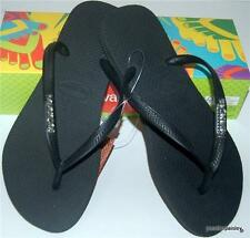 HAVAIANAS Real NEW Ladies SlimTHONGS FLIP FLOPS black Silver Metal Logo Surf Hot