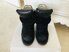 Isabel Marant Beckett Black Suede/Leather Wedge Trainers Size 5 (38)