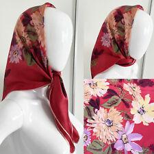 Vintage  1940s 1950s 1960s Raspberry Floral Print Satin Silk Headscarf Goodwood