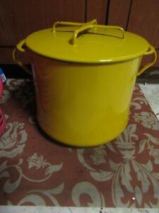 Vintage DANSK Kobenstyle Yellow Enameled 2 Gallon Dutch Oven Pot & Lid
