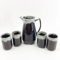 Vintage Mid Century Modern Pottery Blue Brown Drip Glaze Pitcher & 4 Cups Set