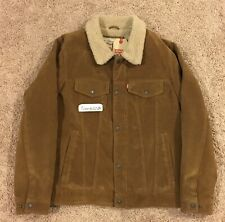 New! Men's Levi's Brown Faux Suede Sherpa Lined Trucker Jacket sz SMALL