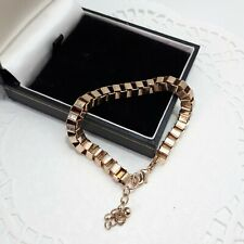 """Vintage Gold Toned Boxed Chained Bracelet L7""""Ext1"""" Costume Jewellery Retro /P8"""