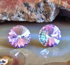 Vitrail Light Stud Earrings, 14mm Round Rivoli, Swarovski Crystal Rhinestones