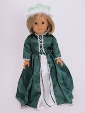 """Doll Clothes AG 18"""" Dress Rapunzel Hunter Green Made To Fit American Girl Dolls"""