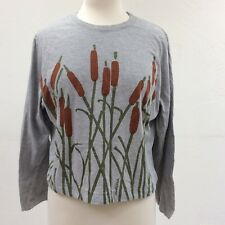 Marushka Cattail Print T Shirt Womens XL Cropped  Gray Long Sleeve