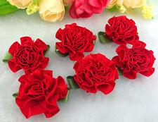 12/60/120pcs satin ribbon Carnation Flower Appliques/craft/Wedding decoration