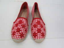 New Isaac Mizrahi Live!  Espadrilles with Eyelet Embroidery, Red Color, Size 9 M