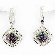 Sterling Silver 925 Princess Cut Green Purple Fire Genuine Mystic Topaz Earrings