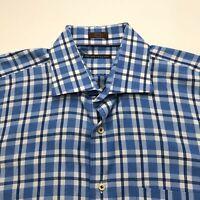 Peter Millar Mens Size Large Button Front Long Sleeve Dress Shirt Blue