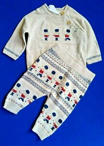 NEXT Baby Boys Knitted Set Age 3 6 Months Jumper & Leggings London Soldier Teddy