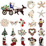 Christmas Rhinestone Crystal Snowman Santa Tree Brooch Pin Jewelry Xmas Gift New