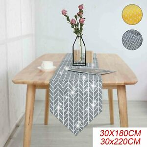 Home Cotton Linen Plaid Table Runner Wedding Tablecloth Party Dinner Decor UK
