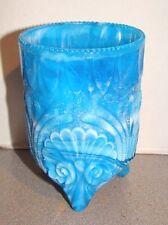 Vintage Davidson Glass Blue Slag Shell & Seaweed Vase Spooner