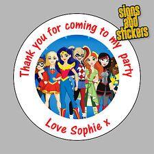 40 Personalised Superhero High Party Stickers Bag Seals Invites super hero