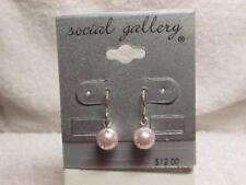 Pink Faux Pearl Rhinestone Embedded Dangle Earrings New Old Stock