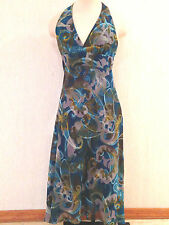 Beautiful MAX and CLEO Lined SILK Long Halter Cocktail DRESS Ms Size 6 EUC
